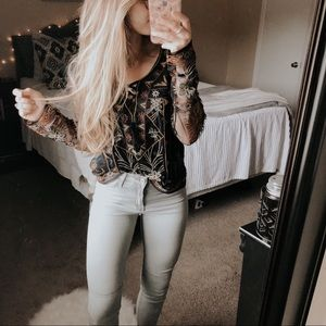 American Eagle Bohemian Embroidered Mesh Blouse